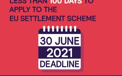 100 days to go until the deadline for applications to be made to the EU Settlement Scheme (EUSS)
